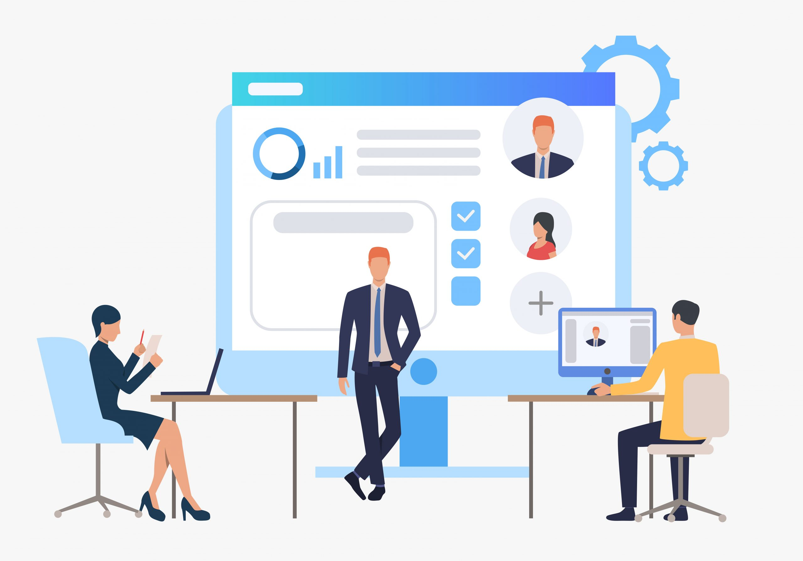 Hiring agency, candidates and job interview. Personnel, hr, employment concept, presentation slide template. Can be used for topics like business, recruitment, human resources
